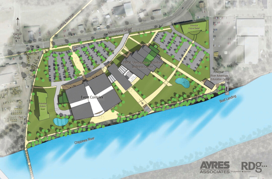 A conceptual site plan showing possible locations for a hotel (left) and retail (upper right) space around the Sonnentag Event and Recreation Complex on Menomonie Street.