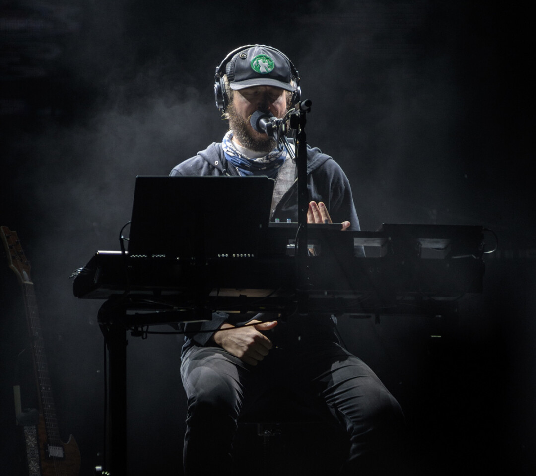 Justin Vernon during Bon Iver's Friday night set at Eaux Claires 2016. Photo: Lee Butterworth