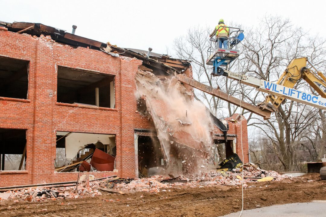Crews razed the century-old Huebsch Laundry building on November 29.