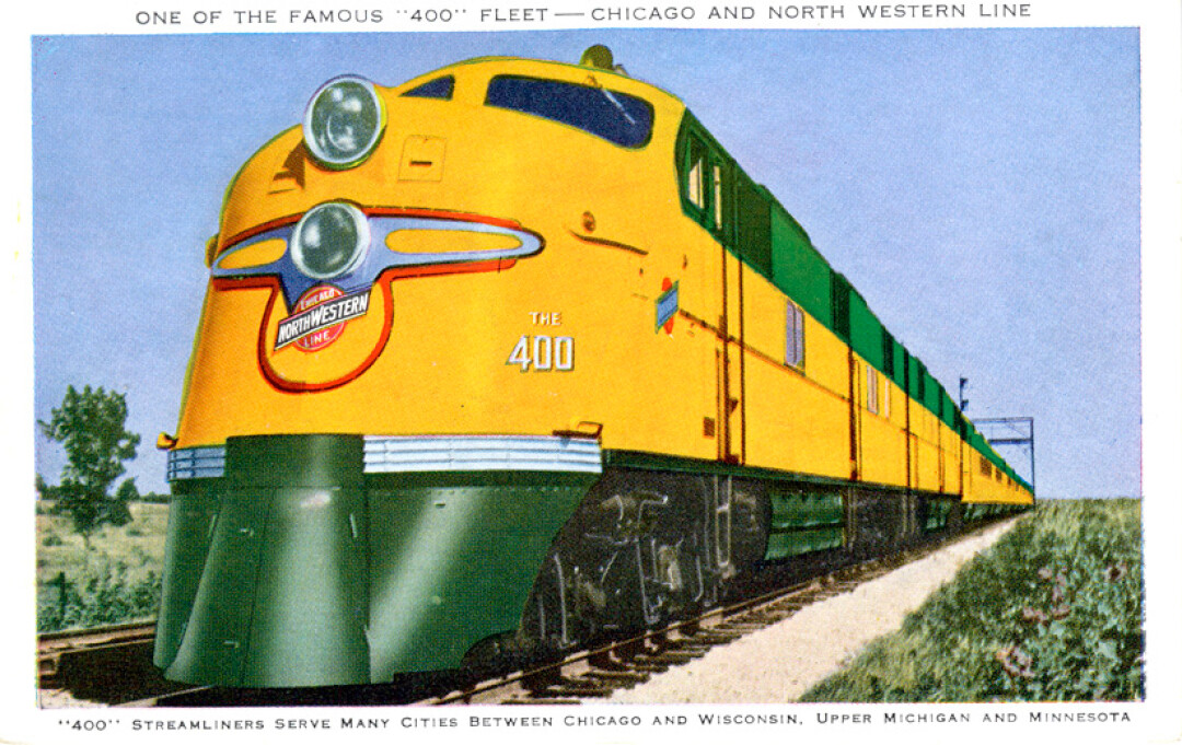 BACK TO THE FUTURE. This vintage postcard shows the Twin Cities 400, the last passenger train line to serve Eau Claire, which ended in 1963. Advocates hope to revive passenger rail in the region in the near future. Image: Chippewa Valley Museum