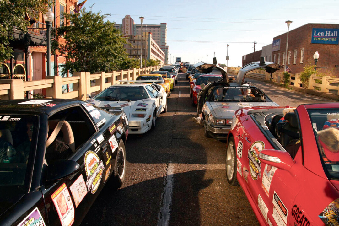 WHERE THE RUBBER LITERALLY MEETS THE ROAD. Fireball Run competitors line up during a previous season of the series, which can be viewed on Amazon Prime.
