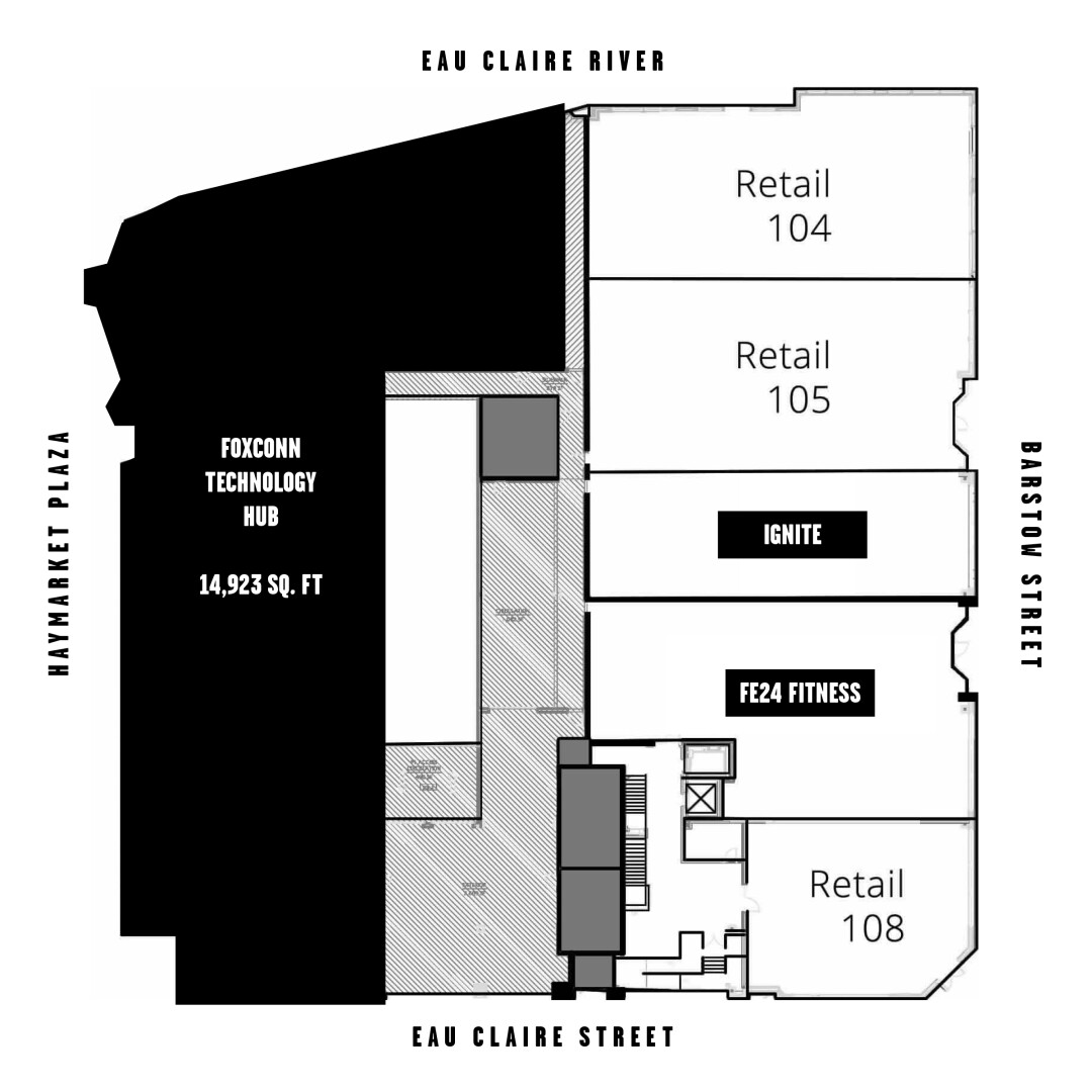 The Haymarket Landing building's commercial floor plan. Info: Commonweal Development