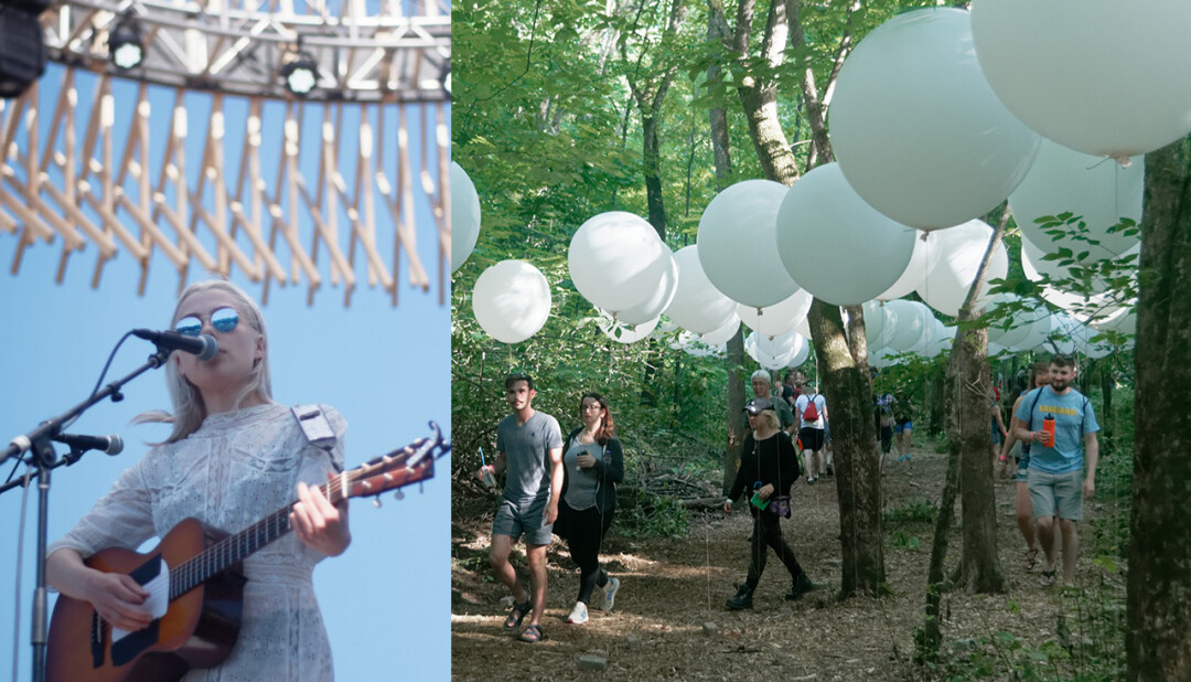 OUT OF THE WOODS. Attendees check out art installations at the 2018 Eaux Claires Music & Arts Festival. Organizers are set to bring the next fest right into downtown Eau Claire.