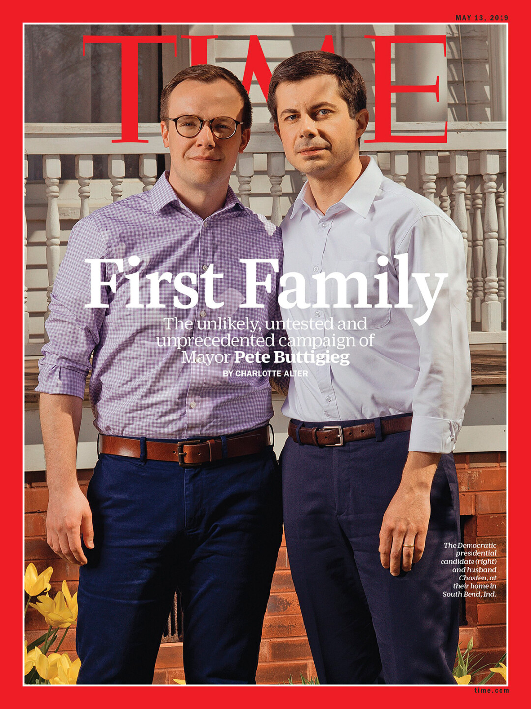 Chasten Buttigieg (left) on the cover of TIME Magazine (May 13) with husband and Democratic presidential hopeful Pete Buttigieg.