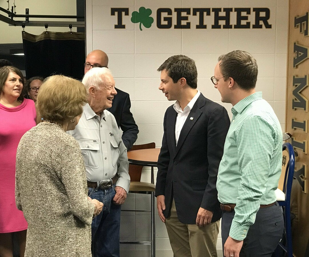 Chasten and Pete Buttigieg meeting former US President Jimmy Carter last year. (Image: Twitter)