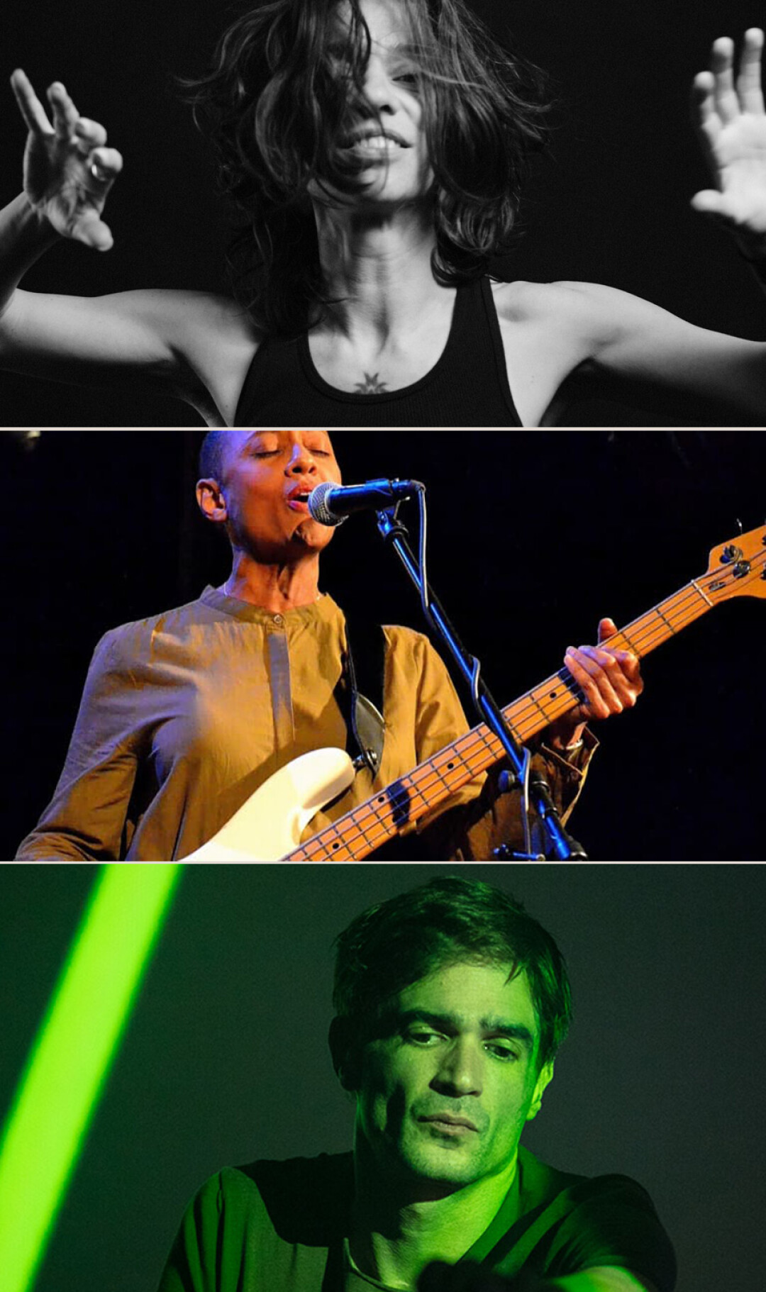 Top down: Ani DiFranco, Gail Ann Dorsey, Jon Hopkins