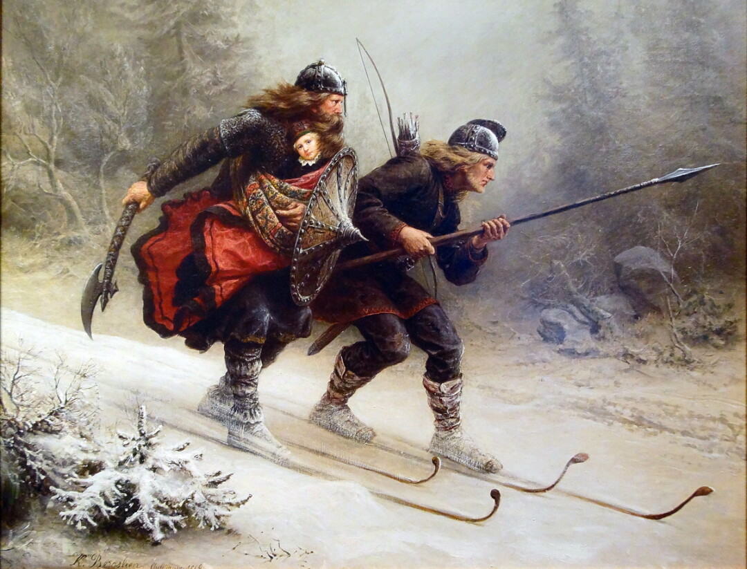 The original Birkebeiner racers (with baby!) in a 19th-century painting
