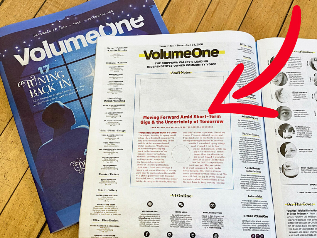WHOOPS! You may have noticed a few weird mistakes in the new print issue of Volume One, such as this red dummy text and blank spot for a photo on page 4.